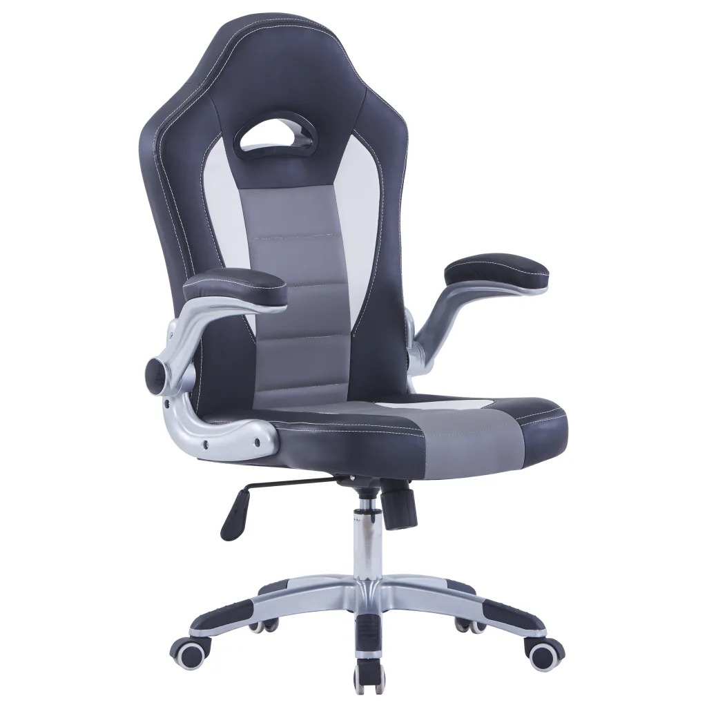 VidaXL Leatherette Gaming Chair 360 Degree Swivel Gas Lifting System Office Chair Furniture Adjustable Armrests Computer Chair