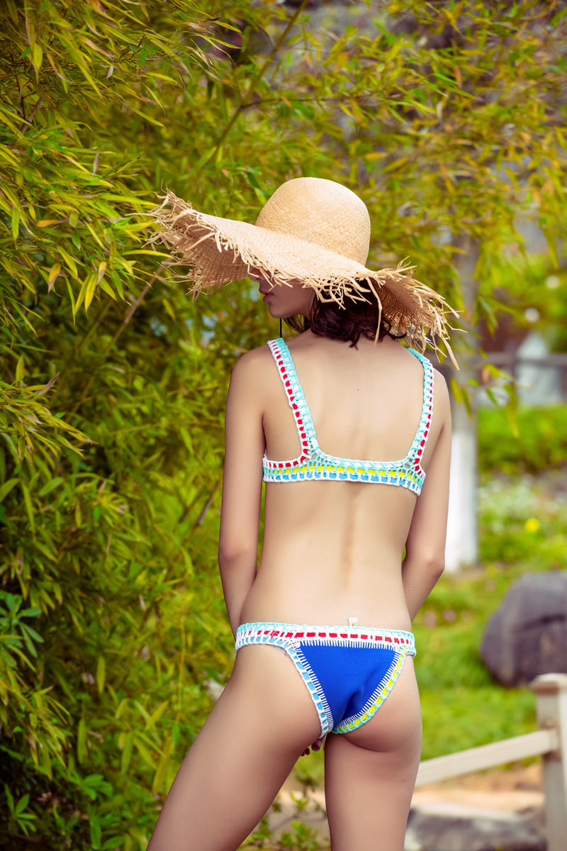 Micro Bikini 2019 Women Handmade Crochet Knit Swimwear Halter Patchwork Bathing Suit Swimsuit Biquini Thong Bikini traje de bano-3