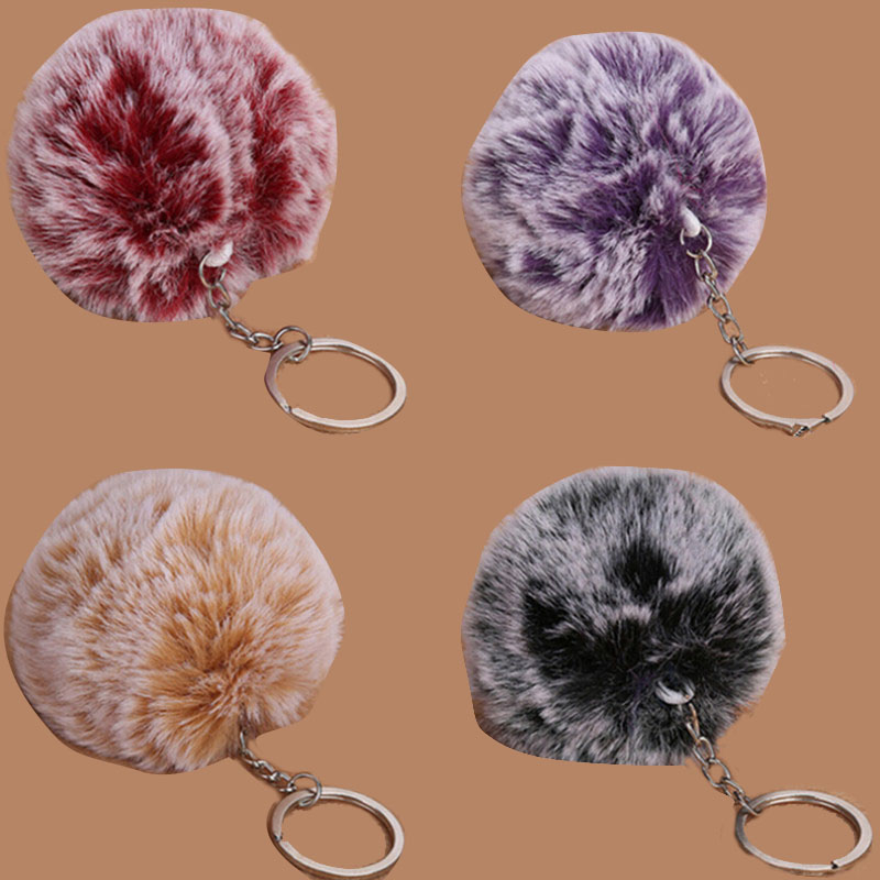 1PCS Women Bag Key Chains Pompon 1 Ball 2 Colors 8cm Frost White Fur Pom Pom Ball Keychain 8cm/3.1in