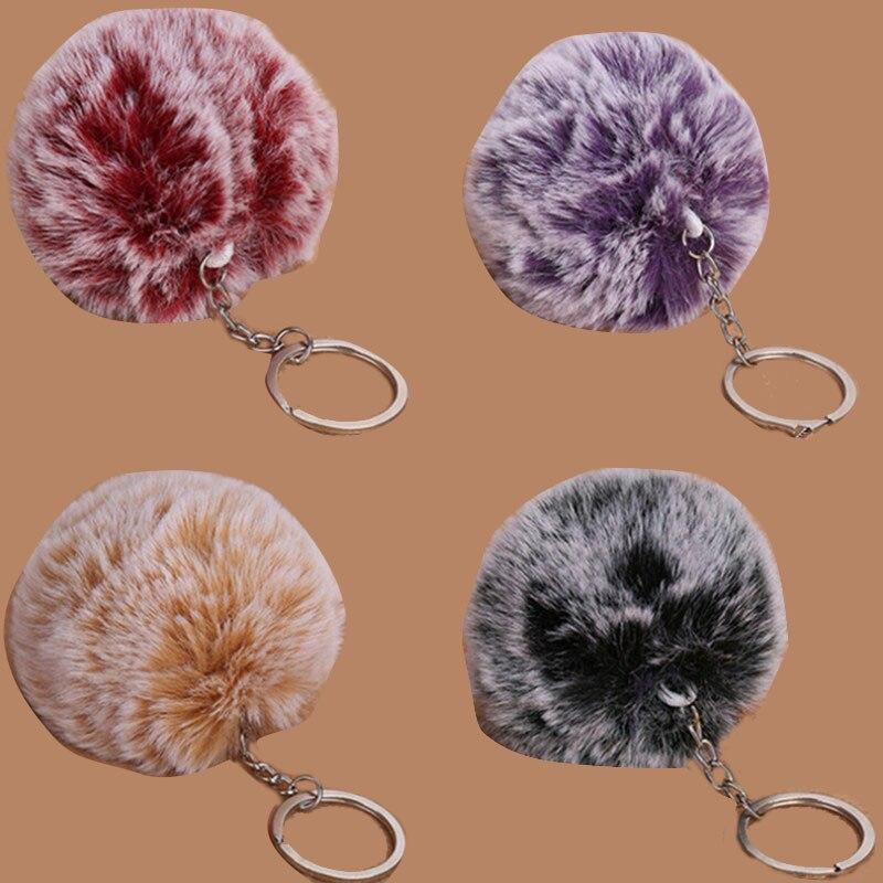 1PCS Women Bag Key Chains Pompon 1 Ball 2 Colors 8cm Frost White Fur Pom Pom Ball Keychain 8cm/3.1in