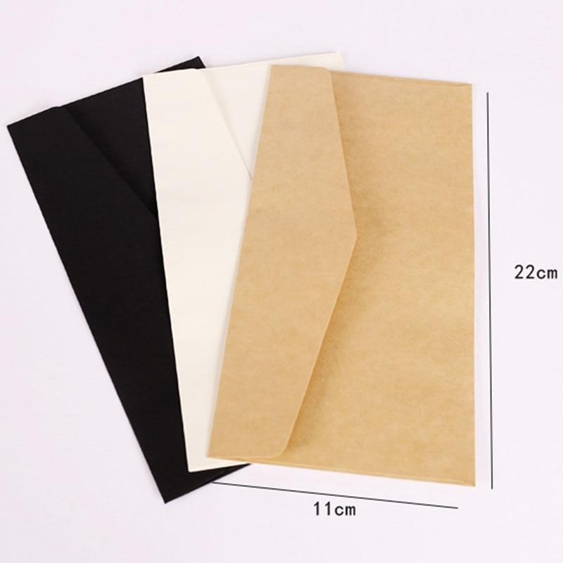 10PCS Classical White Black Kraft Blank Mini Paper Window Envelopes Wedding Invitation Envelope Gift Envelope