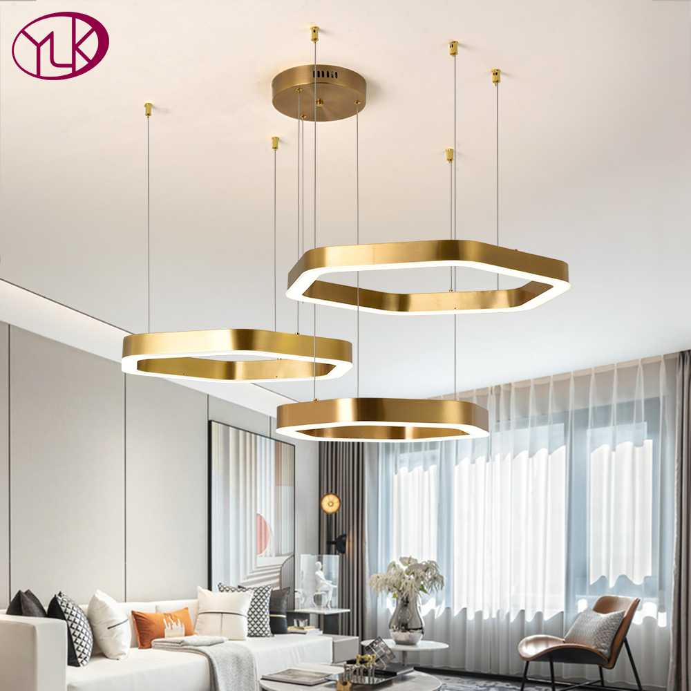 New Modern Chandelier Lighting For Living Dining Room Large Home Decoration Lights Fixtures Hexagon Geometry Cristal Chandeliers