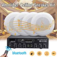 12V/220V 2CH HIFI Audio Stereo Power Amplifier Home Theater bluetooth Amplifier With Ceiling Bass Horn Speaker Sound System Kit