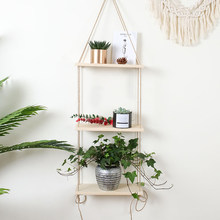 Wall Hanging Shelf Flower Pot Rack Rustic Wooden Floating Nordic Style Living Room Picture Ledge Home Decor Swing For Plants(China)