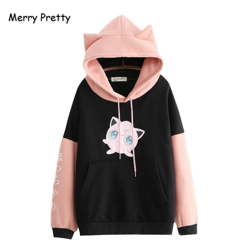 Merry Pretty Women's Pokemon Sweatshirts With Ears Blackpink Fleece Hoodies Winter Harajuku Sweatshirt Drawstring  Women Clothes