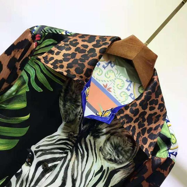 AELESEEN Luxury 100% TWILL SILK Shirts 2021 Spring Runway Fashion Leopard Animal Print Office Ladies Party Elegant Blouse XXXL 3