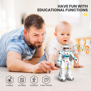 DEERC RC Robot Toy for Kids,Smart Gesture Sensing Remote Control Robot,Great Toys Gift for 3-8 Year Old Boys Girls 5