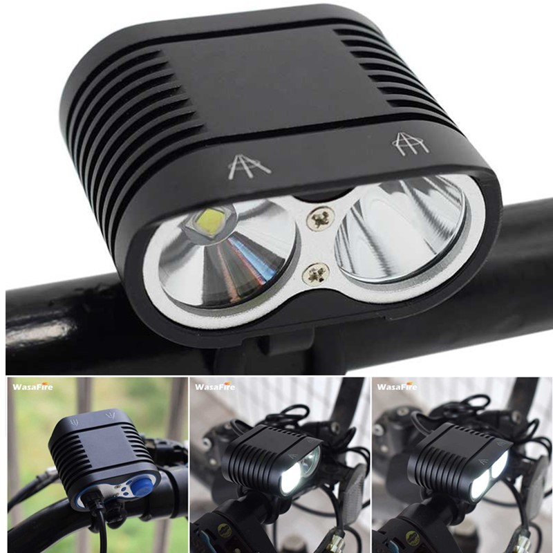 Super Bright 5000LM Bike Light 2* XM-L2 Bicycle Front Light MTB Headlight Head Lamp +Rechargeable 8800mAh 18650 Battery Pack