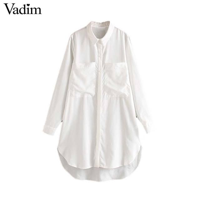 Vadim femmes mode blanc blouses longues poches décorer chemises à manches longues basique femme tenue de bureau décontracté hauts blusas LB789