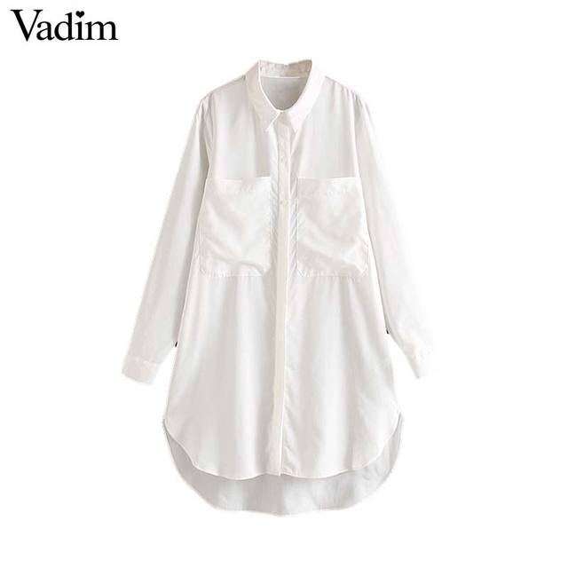 Vadim women fashion white long blouses pockets decorate long sleeve shirts basic female office wear casual tops blusas LB789