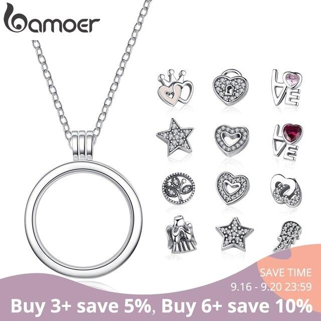 BAMOER подлинное серебро 925 пробы средняя маленькая память подвешиваемый кулон ожерелья и подвески стерлингового серебра ювелирные изделия ...