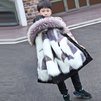 30 Degree Kids Parka Coat New 2020 Boys Winter Jacket Faux Fox Fur Liner Detachable Parkas Children Boy Thick Warm Outerwear