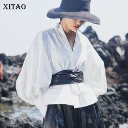 XITAO плиссированная тонкая плиссированная винтажная Блузка Женская мода V шеи с пышными рукавами пэчворк с высокой талией Повседневная стил...
