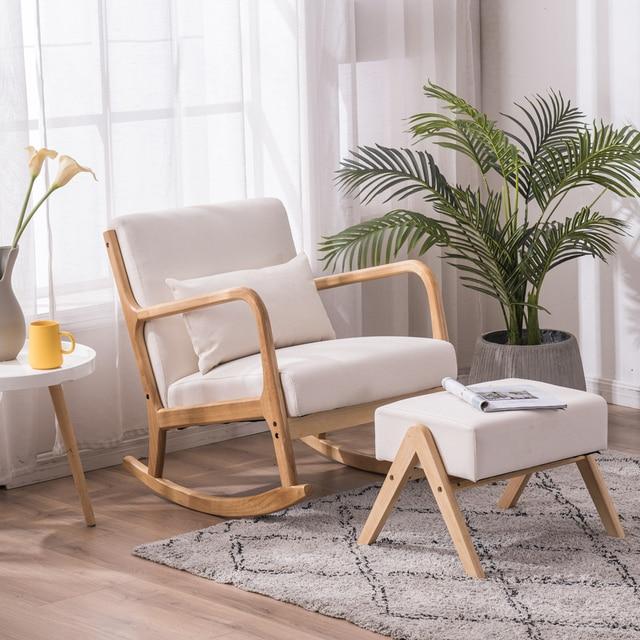 Rocking Chair Fabric Recliner w/ Ottoman 1