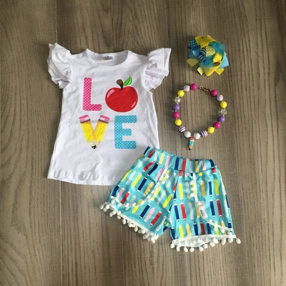 Baby Girls Summer Clothing Kids Back To School Outfits Love Apple Shirt With Pencil Shorts Student Outfits With Accessories