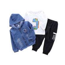 New Spring Autumn Children Clothes Baby Boy Girls Cartoon Jacket T Shirt Pants 3Pcs/sets Kids Infant Clothing Toddler Tracksuits iyeal newest 2018 spring autumn baby girls clothes sets denim jacket tutu dress 2 pcs kids suits infant children clothing set