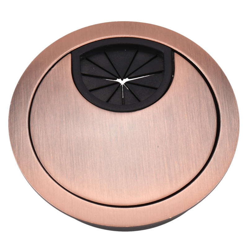 New-Metal 53mm Dia Computer Desk Table Counter Top Wire Grommet Copper Tone