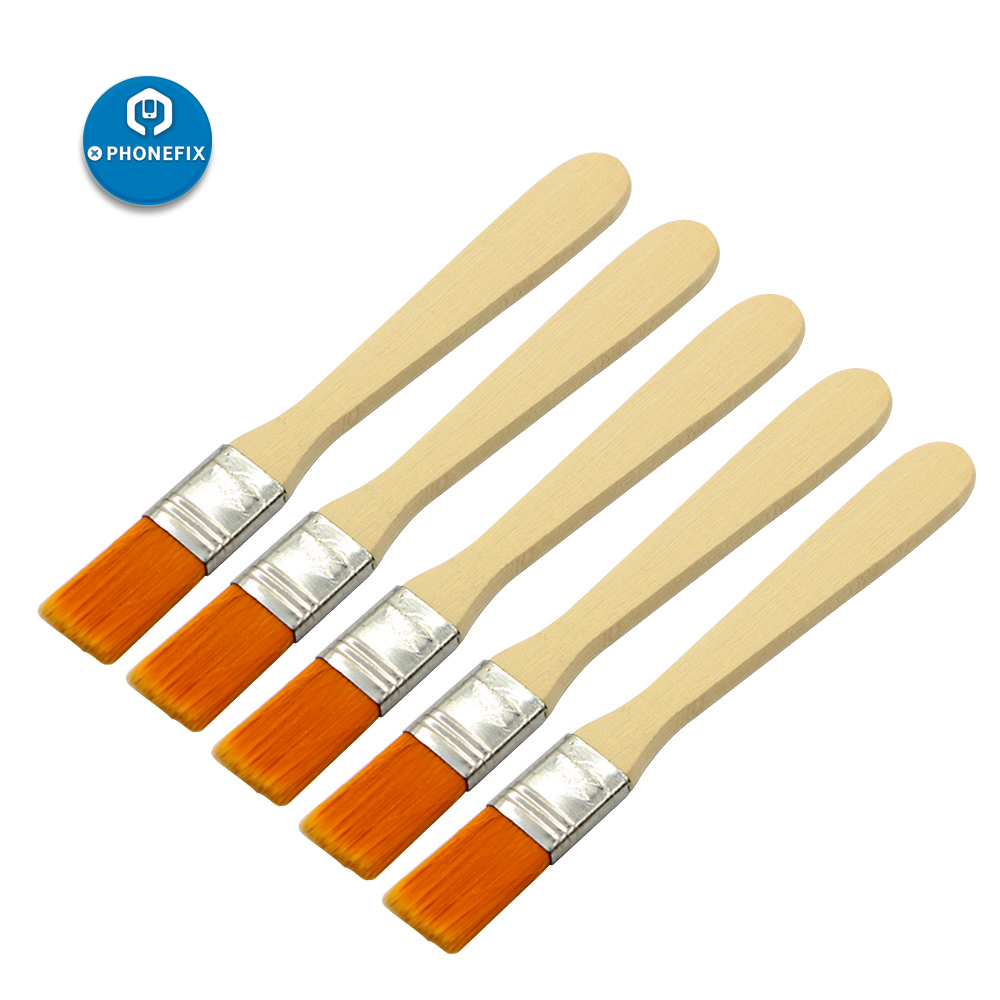 PHONEFIX 5Pcs Soft Cleaning Brush Keyboard Computer PC Dust Cleaner Wood Handle For Mobile Phone PCB Electronics Repair Tool Set