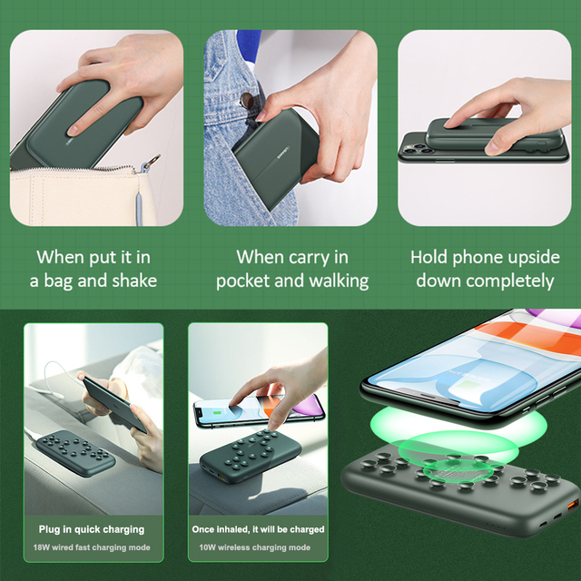 Wireless Charger Portable Suction Fast Charging Power Bank 10000mAh Quick Charging Wireless Charger Mobile Phone Accessories 6