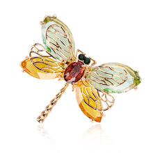 Elegant Dragonfly Brooches Cute Animal Flying Insect Brooch Pins for Women Fashion Crystal Jewelry Accessories
