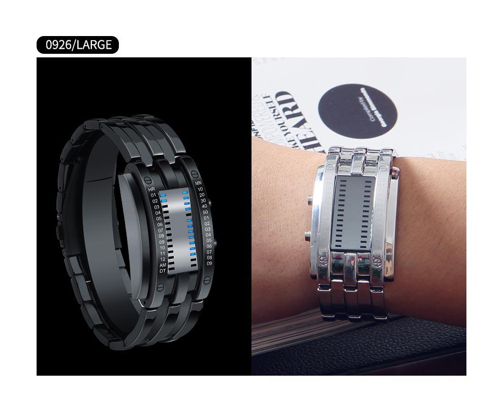 masculinos preto pulseira de aço inoxidável relógios