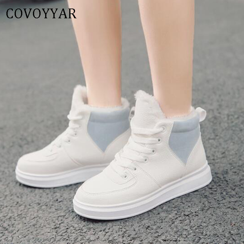 COVOYYAR 2019 White Women Sneakers Autumn Winter Warm Fur Causal Shoes Flat Plush Shoes Woman Lace Up Canvas Shoes WSN329