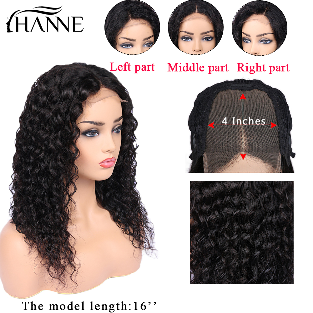 Water Wave 4*4 Lace Closure Wigs 3 Part Human Hair Wigs Glueless 8-22 Inches Remy Lace Wig For Women Natural Color HANNE