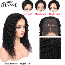Parrucche con chiusura in pizzo 4X 4 onda d'acqua parrucche per capelli umani in 3 parti Glueless 8-22 pollici parrucca in pizzo Remy per donna colore naturale HANNE