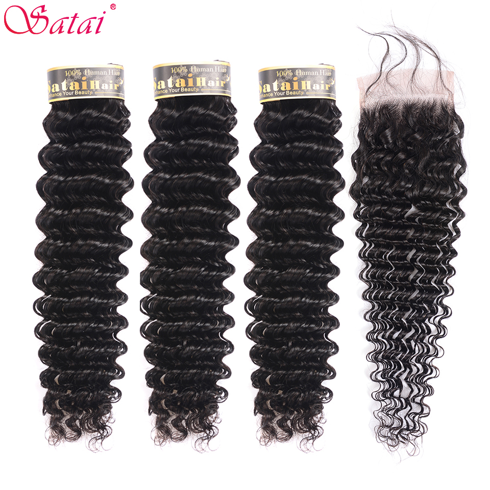 Satai Deep Wave 3 Bundles With Closure 100% Human Hair Bundles With Closure Brazilian Hair Weave Bundles Non Remy Hair Extension