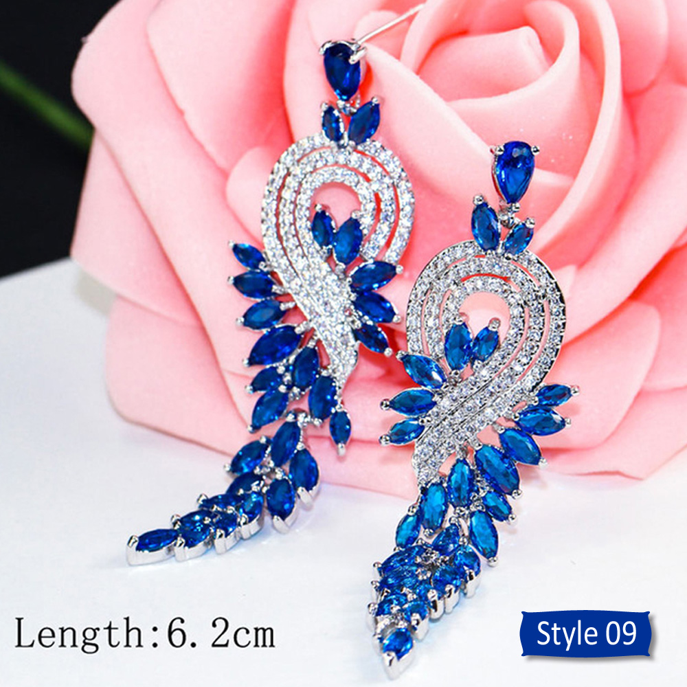 Hae70bc69dc324f0f83e6650bcc41bef3a - ThreeGraces Noble Big Cubic Zirconia Dark Blue Crystal Earring for Women Statement Round Flower Dangle Teardrop Earrings ER011