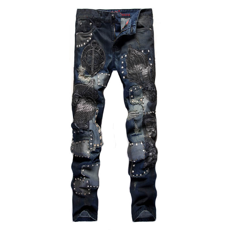 KIOVNO Men's Ripped Distressed Jeans Pants Owl Embroidery NightClub Denim Trousers For Male Hip Hop Size 29-38
