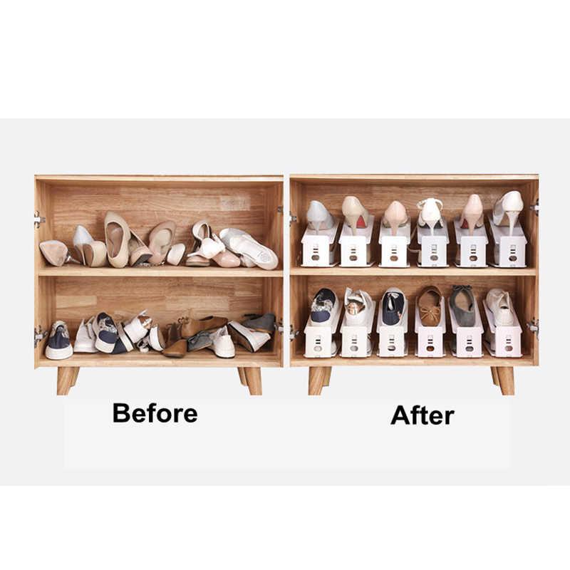 5 個耐久性のある調節可能な靴オーガナイザー靴サポートスロット省スペース内閣クローゼットスタンド靴収納ラック靴箱