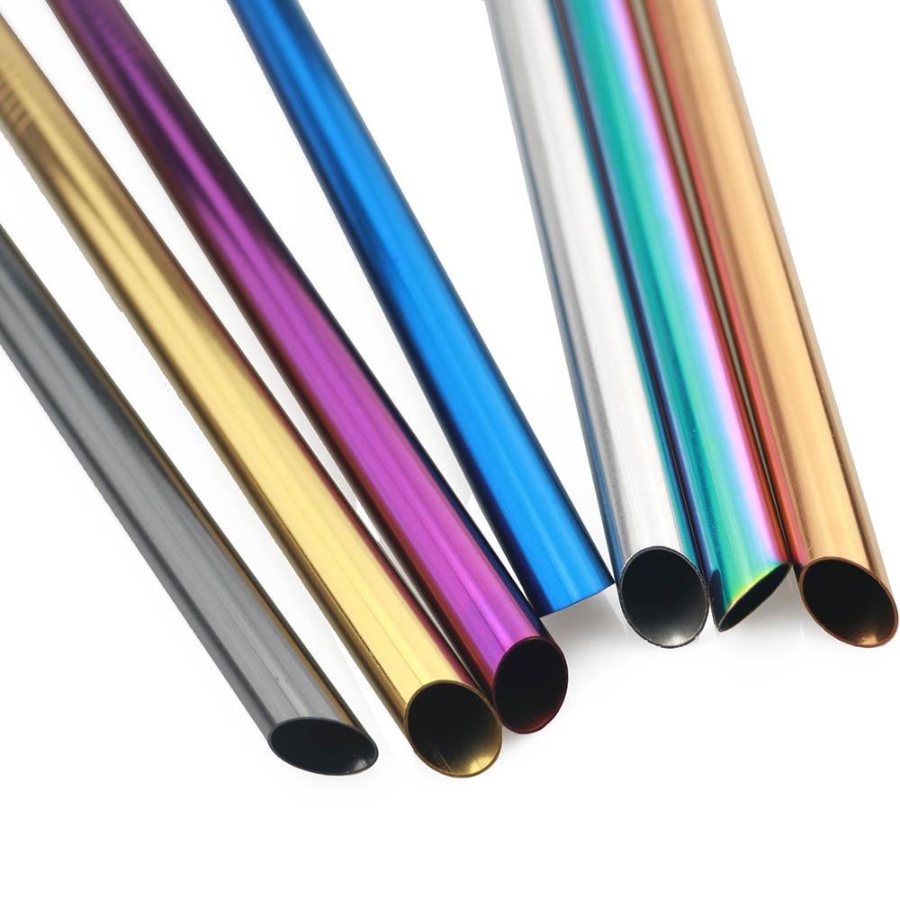 Paille réutilisable en acier inoxydable, 12mm, avec brosse de nettoyage, 1 pièce
