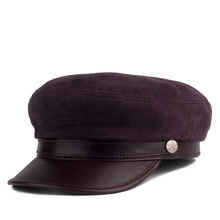 Men's spring and autumn sheepskin flat hat navy hat Korean leather hat thin section British student hat cap female tide