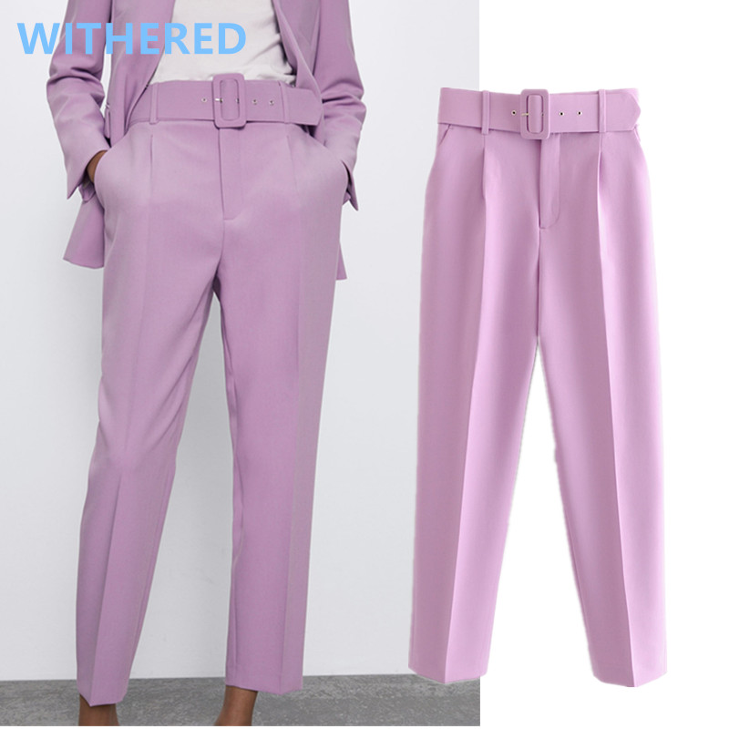 Withered England Office Lady Solid Candy Color Straight Ankle Suits Pants Women Pantalones Mujer Pantalon Femme Trousers Women