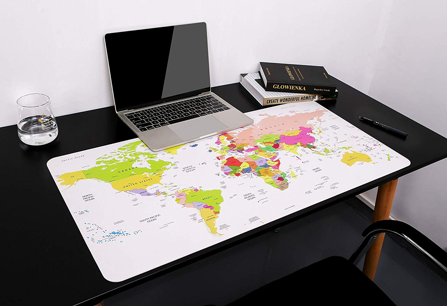 YSAGi Ultra Thin Waterproof PU Leather Mouse Pad, Ideal For Desk Cover, Computer Keyboard, PC And Laptop World Map