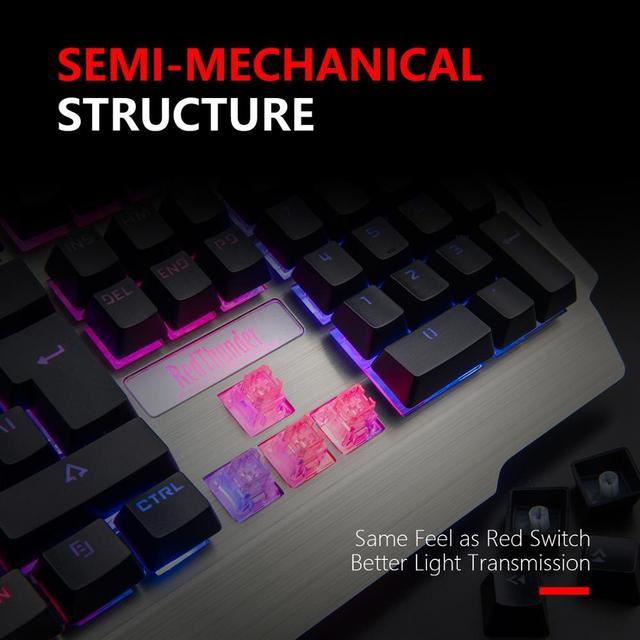 RedThunder K900 RGB Wired Gaming Keyboard 25 Keys Anti-Ghosting Mechanical Feel Ergonomics for PC Russian Spanish French 3