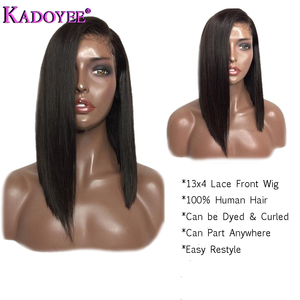 Image 2 - Natural Color Bob Wig Lace Front Human Hair Wigs Brazilian Remy Hair Straight Short Wig with Baby Hair Pre Plucked For Women