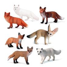 Jouet de Simulation d'animaux sauvages en plastique, modèle d'action en PVC, Collection de figurines de renard, poupée pour enfants, cadeau cognitif, 2020