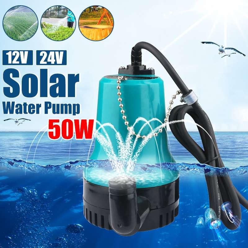 50W 4500L/H 5m 24V DC 12V bomba de agua Solar Motor sin escobillas circulación de agua SUMERGIBLE bomba de riego fuente de estanque de peces
