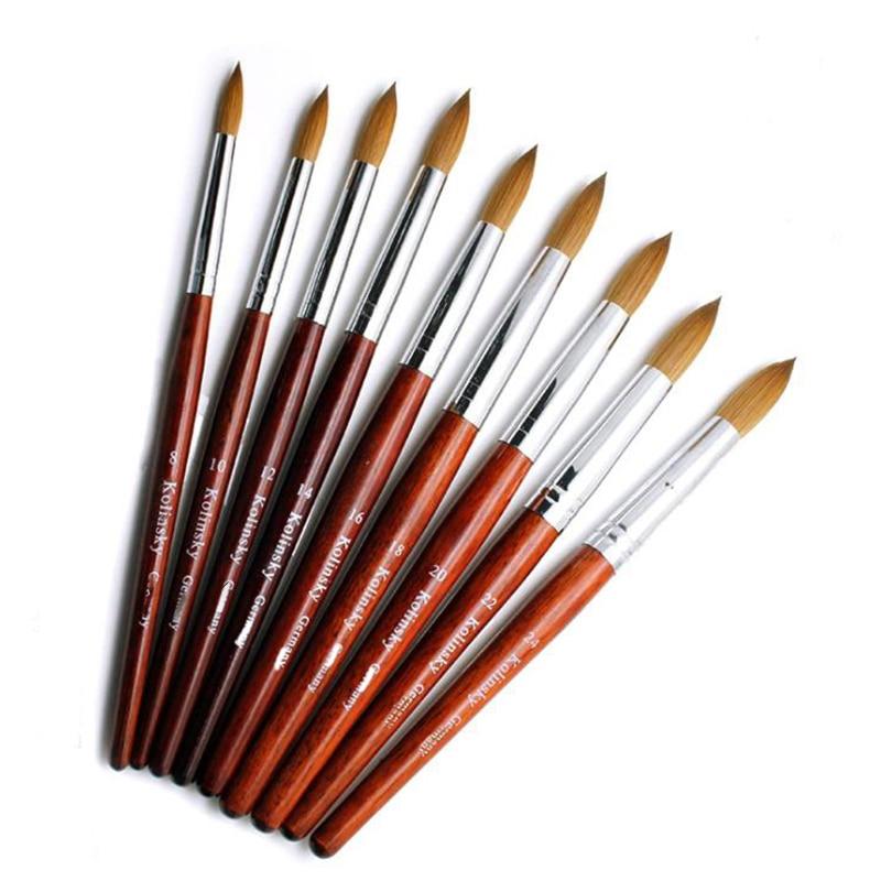 1PC Kolinsky Acrylic Nail Brush Set Good Quality Nail Art Mink Brush Wood Handle Gel Builder Manicure Brush Drawing Tools