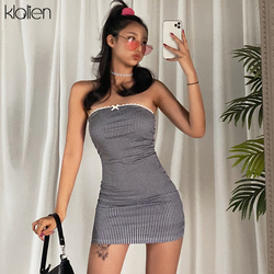 KLALIEN woman fashion sleeveless Tube top slim fit plaid series package hip dress 2020 solid simple casual Sweet girl dresses
