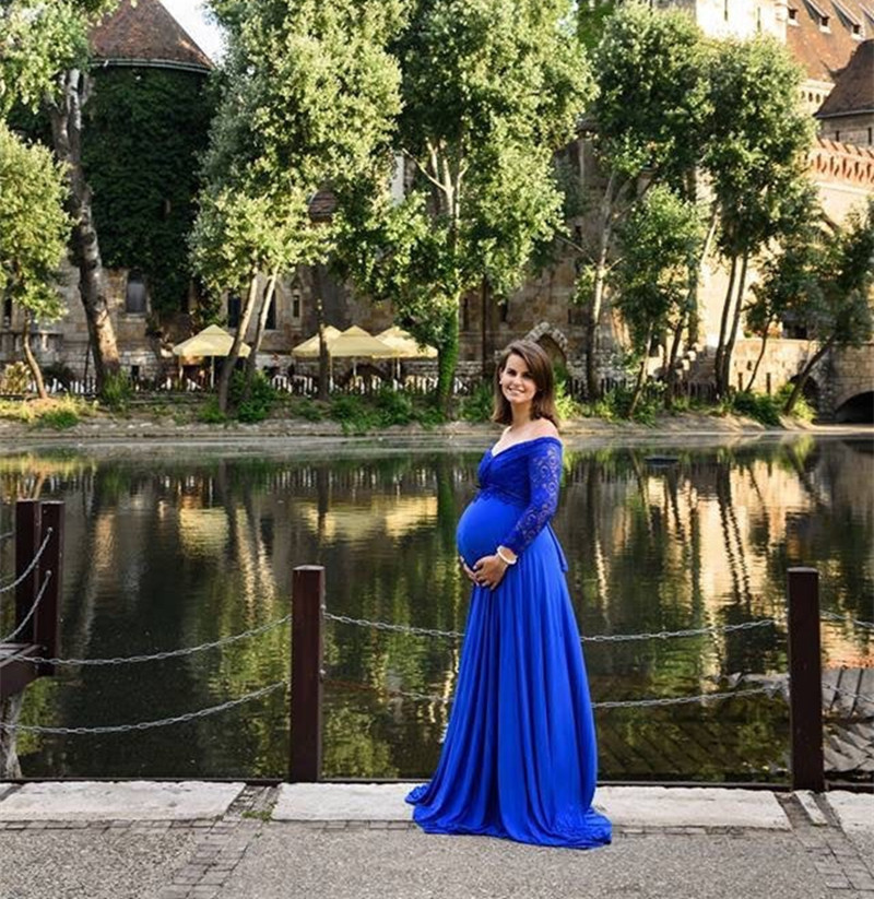 Maternity Pregnancy Dress Photography Lace Maternity Shoot Dresses For Plus Size Women Long Sleeve Pregnant Maxi Gown Photo Prop (2)