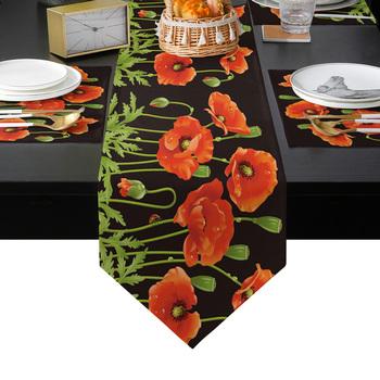 Krokosz kwiaty maku sztuka z motywem roślinnym bieżnik zestaw podkładek kraj stół weselny dekoracja do kuchni strona główna jadalnia wakacje tanie i dobre opinie CN (pochodzenie) PRINTED wyszywana Do hotelu Poliester Bawełna Drukuj Table Runner LEX09228