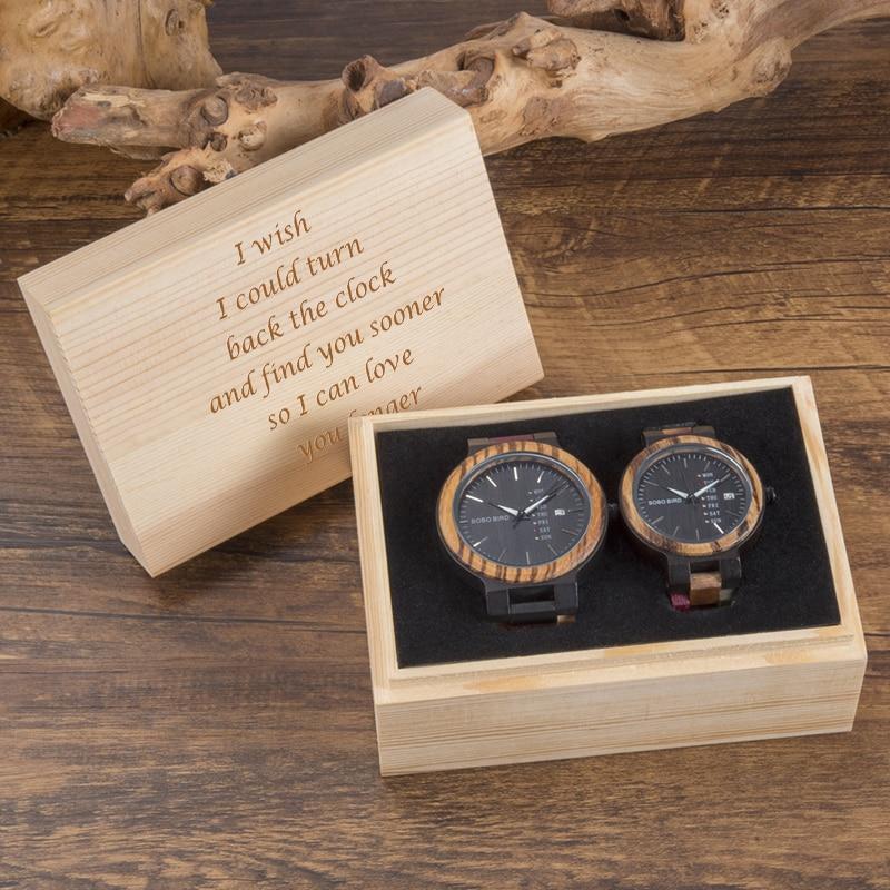 BOBO BIRD Wood Watch Men Women Quartz Week Date Timepiece Wood Band Lover Couple Watches For Anniversary Gifts Customized Logo