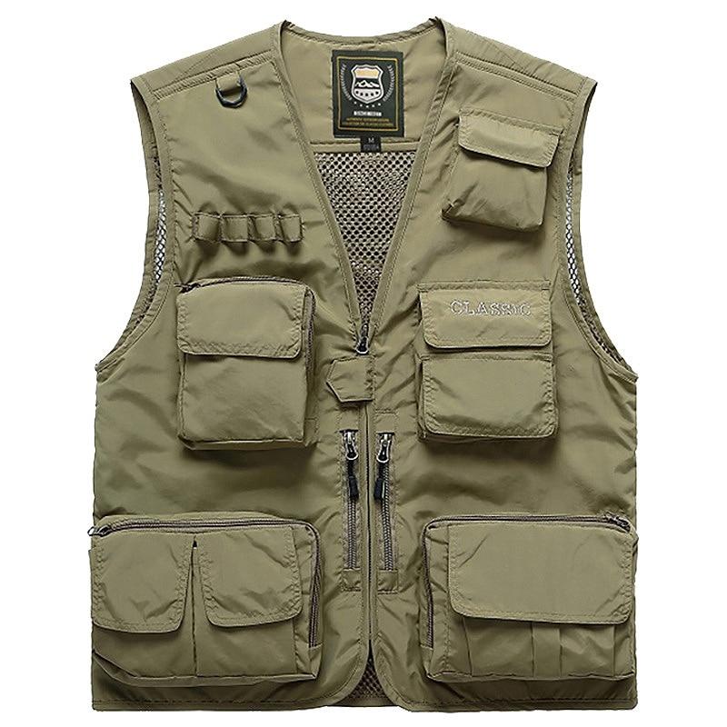 Men Multifunction Quick Dry Fishing Vest Mesh Loose Jacket Outdoor Multipockets Photography Fisherman Waist Coat Khaki|Fishing Vests| |  - title=