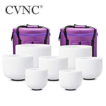 "CVNC 6 ""-12"" 7pcs 서리로 덥은 석 영 크리스탈 노래 그릇 무료 캐리 가방 세트"