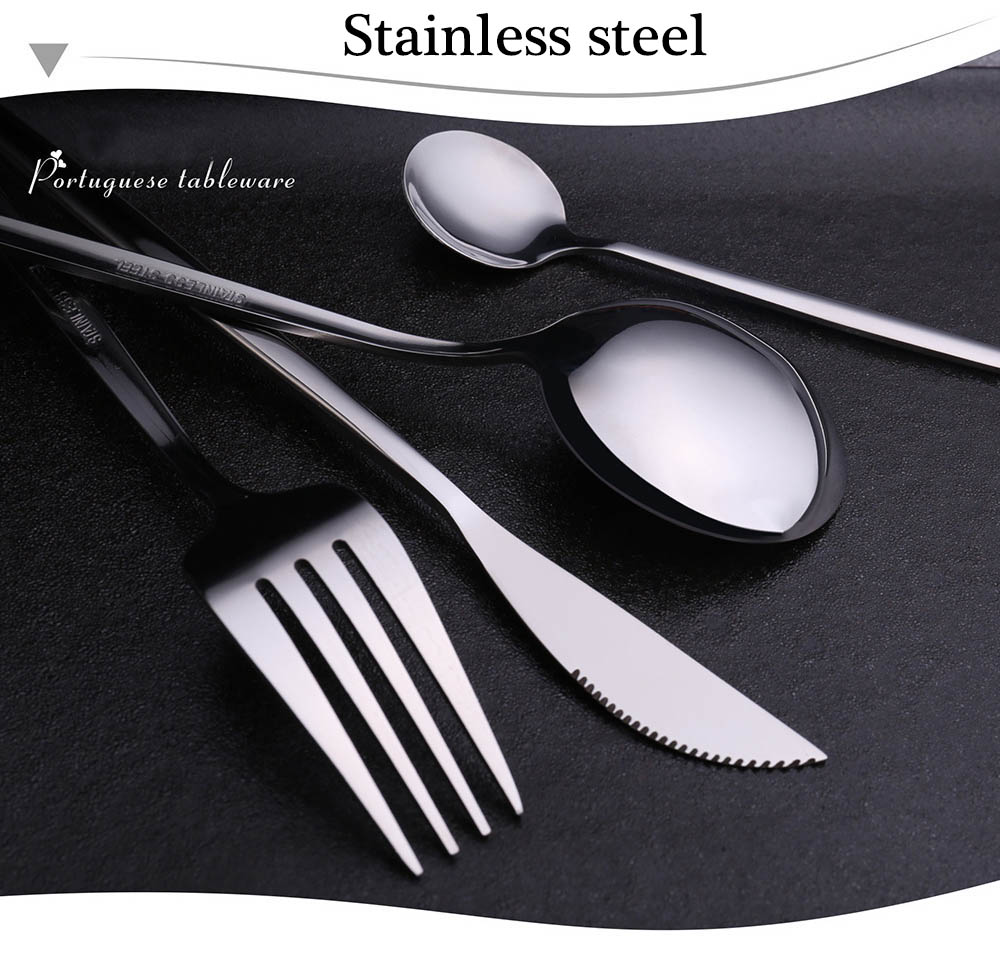 24pcs Cutlery Stainless Steel Tableware Kitchen Cutleri Fork Gold Utensils Dinnerware Set Black Knife Knives Spoon Dinner Travel