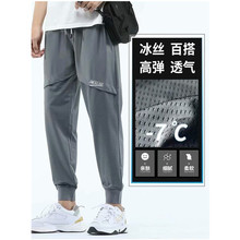 Summer Ice Silk Thin Mesh Casual Pants Men's Nine Points Quick-drying Air Conditioning Harlan Toolin