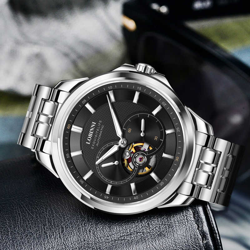 Japan MIYOTA Luxus Marke LOBINNI Automatische Mechanische männer Wasserdichte Stahl Armbanduhren Mode-Design Männlichen Uhren